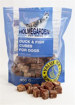 Holmegården`s pet snack godbid med  And og Fisk 400g.