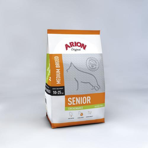Arion Adult Senior Breed  Medium – Kylling & Ris Gluten fri 12 kg.
