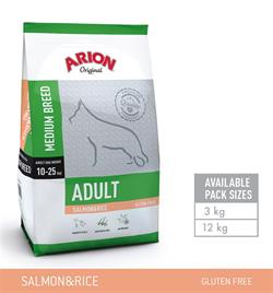 Arion Adult Medium Breed – Laks & Ris Gluten fri 12 kg.