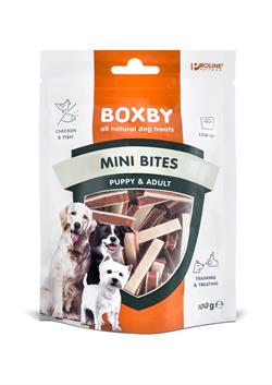 Boxby Mini bites med chicken og fish 100g God til hvalpe.